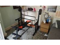 Weightlifting set - Bench and Squat Rack with Barbell and Weights
