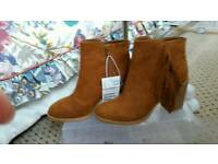 Tan suedette ankle boots size 5.5