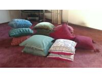 Selection of cushions, various colours