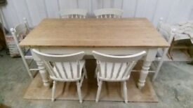 Solid Pine Vintage Rustic French Farmhouse Table and 6 Chairs