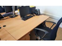 Matching desk, 3 draw pedestal on casters & mesh chair set