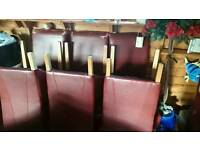 8 faux leather chairs red