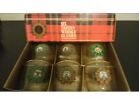 Set of 6 Scottish Clan' Whisky Glasses and Irish Coffee Goblets