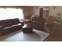 Dark Brown Leather Sofas and Armchair