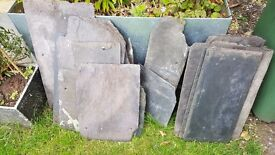 Slate...19 pieces slate. Assorted sizes. Perfect for door signs or cragt jobs..