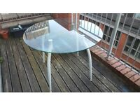 Glass and metal round table