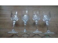 4 Vintage Cut Glass Wine Glasses