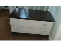 2 drawer cream wood chest of drawers with dark wood top