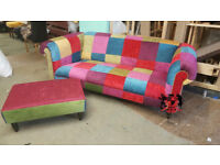 World Exclusive Flamboyant Multi Colour 3 Seat Chesterfield Patchwork Sofa With Stool