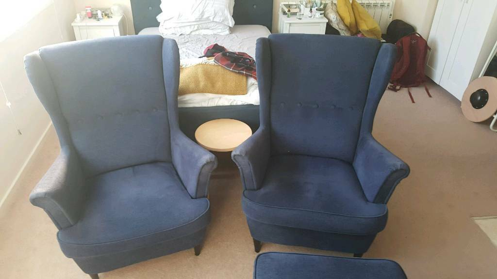 Pair Of Ikea Strandmon Wing Back Chairs And Footstool In Lewes East Sussex Gumtree