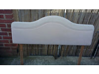creamy pinkish 52 inch long padded headboard
