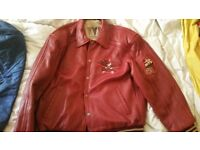 Avirex red leather jacket in vgc. Size XL.