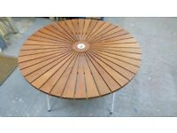 round wooden teak folding flat garden / camping / fishing table . excellent condition