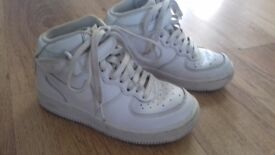 Boys size 11.5 high top white Nike trainers