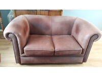 Pair of Tan Brown Leather 2 Seater Chesterfield Sofas