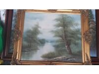Woodland oil painting with gold gilt frame
