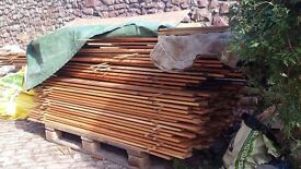 Various lengths of 60x15mm larch fence slats half price as slightly used.