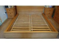 Super King size IKEA wooden bed frame (mattress included in price if wanted)