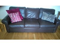 Two Seater AND Three Seater Real Leather Dark Brown Sofas Sofa Settee Armchairs GREAT CONDITION 2 3