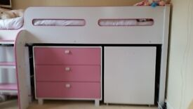 Midsleeper Bed with Draws.. Shelving Unit.. Pull Out Desk & Folding Desk Chair