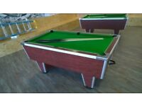 Slate bed pool table, cues and balls