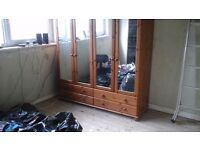 Wardrobe 4 door mirrored pine wardrobe with topbox and 4 drawers