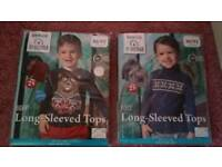Two packs of boys long sleeve tops - size 1-2 years, brand new in packaging.