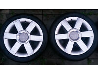 "AUDI A2 SE 16"" ALLOYS WITH CENTRE CAPS & TYRES - £140"