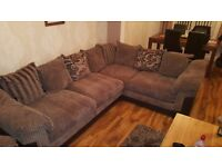 DFS corner Couch with Reclining Chair and storage Puffy