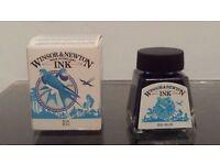 NEW Winsor & Newton Made in England Ink Blue AZUL 14ml .47USfl.oz. 1005 032