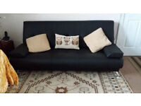 Sofa Bed Couch as new (Black faux leather)