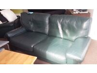 Comfy green leather couch and armchair to go asap