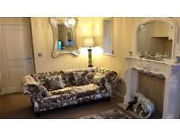 3 seater crushed velvet chesterfield sofa