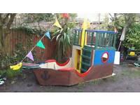 Wooden pirate ship garden playground