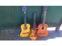 Accoustic guitars, become the next Bee Gees, set of three