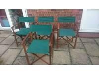 4 garden wooden directors chairs