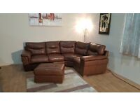 Ex-display Dayson brown leather corner sofa and footstool