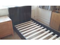 Brown leather (faux) single bed