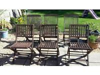 6 x hardwood garden wooden chairs