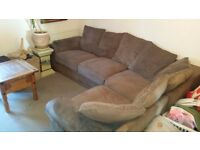 Lovely large corner sofa tan light brown suede type leather material and cord
