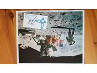 """James """"Jim"""" Irwin signed lithograph+ original signed business card"""