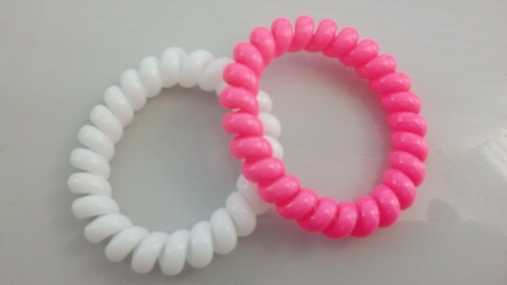 Pink and White Plastic Coil Hair Bobbles from Toni   Guy  0a64d608957