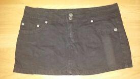 Mini black skirt-100% cotton-size 40 (M)