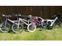 Job lot of bikes. 3 child's bikes complete plus one frame only