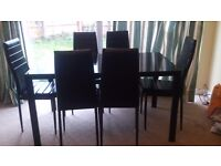 Dining Table Black with 6 matching chairs