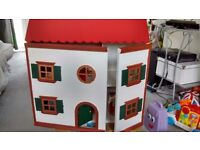 Hand painted upcycled dolls house with furniture inc wallpapered full kitchen and living vintagelook
