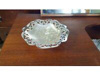 Small Latticed Silver Dish in Good Condition