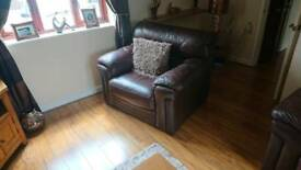 Soft leather two seater sofa and two armchairs w