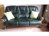 Green Leather 3 seater settee and two chairs with scatter cushions for sale