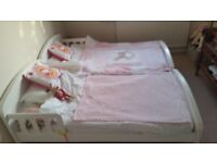 Two Kiddicare White Toddler Beds complete with deluxe spring interior mattresses